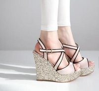 Cheap Free Shipping 2016 hot sell NEW women's Bright Glorious Light Pink Silver Wedge Heels Cross Strappy Sandals Cheap Trendy High Heels Shoes