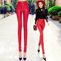 basics pants - pu leather trousers red women buckles tight hip slim high waist PU skinny bootcut pants trousers plus size basic leggings
