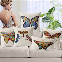antique linen pillowcases - European American Antique Hand painted Butterfly Dragonfly Handmade Sofa Nap Rest PillowCase ISO9001 Quality Test Linen Canvas Cushion Cover