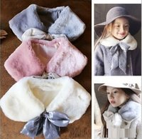 Wholesale Hug Me Girls Lace up leather fur collar hare fur collar New Autumn Winter Warm Fur Collar Cape Scarf Ring AA
