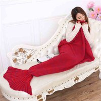 Wholesale Adult Crochet Mermaid Blanket Handmade Mermaid Tail Blanket Mermaid Tail Sleeping Bag Knit Sofa Nap Blankets Costume Cocoon