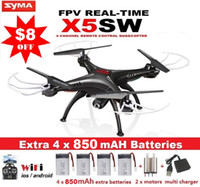 Wholesale SYMA X5SW X5SW FPV Drone X5C Upgrade MP WiFi Camera Real Time Video RC Quadcopter G Axis Quadrocopter With Battery