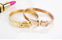 Wholesale Fashion titanium Steel Carter Belt Bracelet Charm Gold Cuff Belt Bangles Size For Women And Men Pulseira Feminina