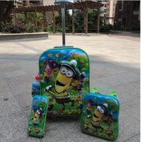 Wholesale New Minions luggage with wheels Four piece suit travel suitcase set cup lunch box pen boxes trolley luggage