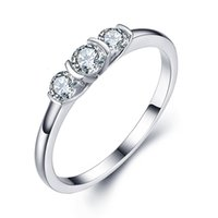 Wholesale Entirely New Women s S925 fashion Silver Ring Brief party jewelries silver plated K gold Silver inlaid gems lady tide ring