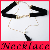 Wholesale Double chain silk tassel pearl necklace clavicle summer hot money peashort fashion pearl necklace Bib collar alloy
