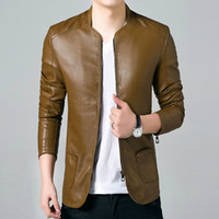 Wholesale British Style Solid PU Leather Jacket Men Brand Clothing Slim Fit Male Coats Plus XL Mens Motorcycle Suede Jacket Sale