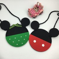 baby coins - Children Mickey Bow Coin Purse Non Woven KIds Green and Red Small Bags Fashion Christmas Gift for Baby Girls Minin Bags for kids