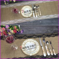 Wholesale Lace Burlap Table Runner Wedding Party Table Decoration Solid Color Linen Table Runners Table Flag x275cm
