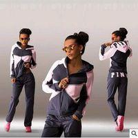 Wholesale Women s survetement fall winter vs love pink print jogging suits for women sport tracksuits hoodies Sweatshirt pants piece outfit sets