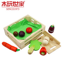 Wholesale New Colorful Wooden Vegetables Combination Kitchen Toys for Pretend Play Wooden Building Blocks Children Educational Kids Toy