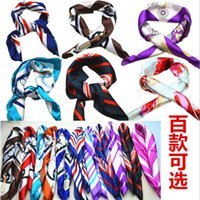 Wholesale 20 Colors Professional Etiquette Small Scarf ladies Sweet Scarfs Stewardess Square printed Scarves Imitated Silk Satin Scarves for women