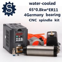Precio de Bomba de refrigeración por agua-Kits del motor del huso de 800W de la alta calidad 0.8KW refrigerado por agua huso + 1.5KW 220V Inverter + 65m m Clamp + Pump + Pipe + ER11 lleno Collet