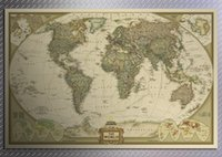 antique world map wall mural - intage Retro Matte Kraft Paper World Map Antique Poster Wall Sticker Home Decora DHL Fedex free