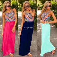 beach maxi dresses uk - New Ladies Summer Long Maxi Dress Printing Casual Sexy Beach Dresses Sundress UK