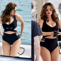 Wholesale Sexy Big Size Breast - 9-7 Two Pieces Separate Plus Size Bikini Sexy Black Solid High Waist Cross Beadeau Swimwear For Pushing Up Sagging Big Breast 14-514-4