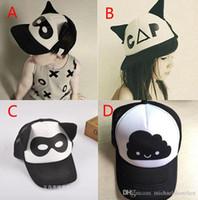 baseball masks - Baby Boys girls INS caps hats Free EMS Color children Fashion Cartoon Batman ins flaky clouds mask Baseball Cap Hip hop Hats B