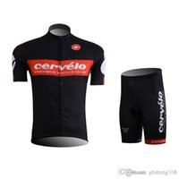 Wholesale Cervelo Cycling Jerseys Set Short Sleeve Black Tops With Cool Max Padded None Bib Trousers High Elastic Bicycle Wear XS XL Can Mix