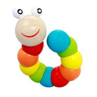Wholesale Colorful Insects Puzzles Kids Educational Wooden Toys Baby Children Fingers Flexible Training Science Twisting Worm Toys