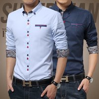 Wholesale 2016 New Stylish Stripe Men Shirts Patchwork Plaid Men shits Business Long sleeve Man Dress Shirt M XXXL Size Plus MCL238
