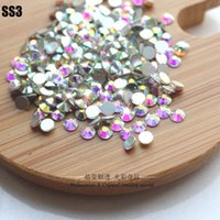 Wholesale Hot Sale SS3 mm bag Crystal AB Non Hot Fix FlatBack Rhinestones Glue on Crystal Nail Art Stone for Fashion DIY