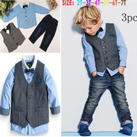 Wholesale Fashion Baby Boy Long Sleeve Set T shirt Vest and Pants Piece Party Clothing Set Boy Clothing Set