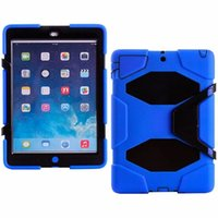 Cheap Robot Cover For iPad5 9.7inch Tablet Military Extreme Heavy Duty Shockproof CASE With Kickstand Stand Cover DHL Free Shipping 11 Colors