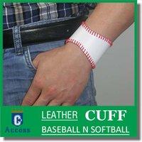 baseball cuff bracelets - 2016 softball baseball leather seam cuff bracelet