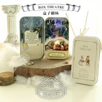 Wholesale Colored Wooden Boxes - Wholesale-Snow dream Box theatre DIY Mini Doll house 3D Miniature Colored Lights+Metal box+Dolls+Wooden support+Furnitures Decoration Gift