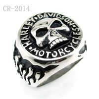 Wholesale Punk L Stainless Steel Flame Biker Skull Head Ring