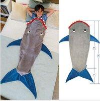 Wholesale Kids Mermaid Sleeping Bag Shark Crystal Wool Warm Sleep sacks Mermaid Tail Fleece Blankets Soft Blankets color KKA368