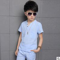 Wholesale Children s Clothing Sets New Summer Big Boy Clothing Set Cotton Linen Solid Solors Size4 V neck Two piece ly015 Kids Clothes Sets