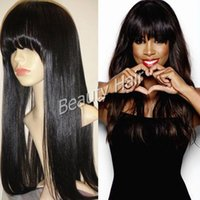 bang light - 2016 Natural straight glueless full lace wig lace front human hair wigs silk base with bangs