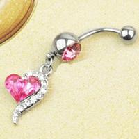 bar titanium alloys - Hot Rose Red Rhinestone Crystal Heart Barbells Navel Belly Bar Button Ring Body Piercing
