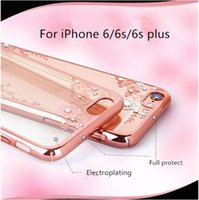 apple laser engraving - For iphone s plus Bling case Laser engraving Luxury Diamond Electroplate Frame Soft TPU for iphone s phone case transparent flower case