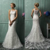 Cheap Amelia Sposa 2016 Mermaid Wedding Dresses Vintage Bateau Neck Lace Appliqued Sheer Back Tulle Court Train Church Bridal Gowns