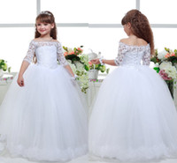 Wholesale Princess Girl Beauty Dresses Puffy First Communion Dress Appliques Lace Toddler Ball Gown Long Flower Girl Dresses with Sleeves HY1273