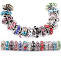 Wholesale mm Crystal Rhinestone Antique Silver Core Big Hole Metal Beads Fit Pandora Bracelet Bangle DIY Jewelry