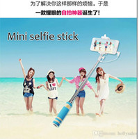 Wholesale New design Wire Extendable Self Selfie Stick Handheld Monopod clip Holder bluetooth Camera Shutter Remote Controller for smart phone