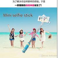 aluminum designs - New design Wire Extendable Self Selfie Stick Handheld Monopod clip Holder bluetooth Camera Shutter Remote Controller for smart phone