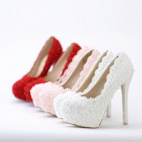 Wholesale women pumps shoes White flower lace waterproof Taiwan high heeled Pearl Wedding Bride shoes sandals pointy shoes with red fine ladies shoes