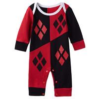Wholesale Infant Baby Toddler Girls Harley Quinn Romper Sleepsuit Costume Superhero Halloween Short Sleeves Playsuit Jumpsuit Cosplay