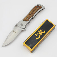 Wholesale BROWNING Folding Survival Army Tactical Knife Hunting Knife Stainless Steel Outdoor Camping Pocket Knife Outdoor Tool Get A Free Blade