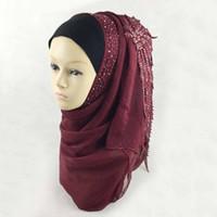 Wholesale 2016 Cotton Muslim Hijab Long Adult Chiffon Print Scarf Wrap Headband Islami wedding hijab For Women Colors ch016 z15