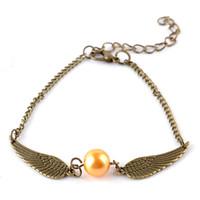 Wholesale quidditch golden snitch pocket Harry Charm bracelets wings Potter vintage retro tone for men and women zj