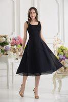Wholesale Custom Made New Design Simple Short Bridesmaid Dresses Sweetheart Black Tea Length Chiffon Prom Dresses Bridesmaid Dress