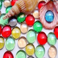 bag pebbles - Bag DIY Glass Shining Round Pebbles Loose Beads Stones Nugget for Fish Tank Aquarium Decorations Mixed Color Great Quality