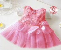 Wholesale girls lace dress Multi colored princess dress Elegant girl dress with bowknot Summer hot selling