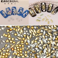 Wholesale 300Pcs D Nail Art Decoration Metal Gold Sliver Tiny Heart Square Rectangle Round Hand Craft DIY Manicure Design Accessory Tools