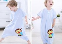 Cheap Wholesale-Baby cartoon short-sleeved cotton cent leg bag summer prevent play is my pajamas 0 to 6 years old baby sleeping bag